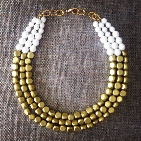 Gorgeous Gold and Opaque White Necklace