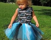 Carolina Panther Corset Tutu Set w/korker bows sizes 18m- girls 6