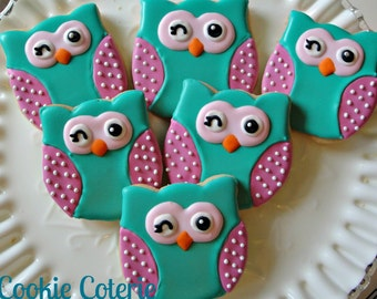 Winking Owls and Chevron Print Decorated Cookies Birthday Party Baby Shower Cookie Favors One Dozen
