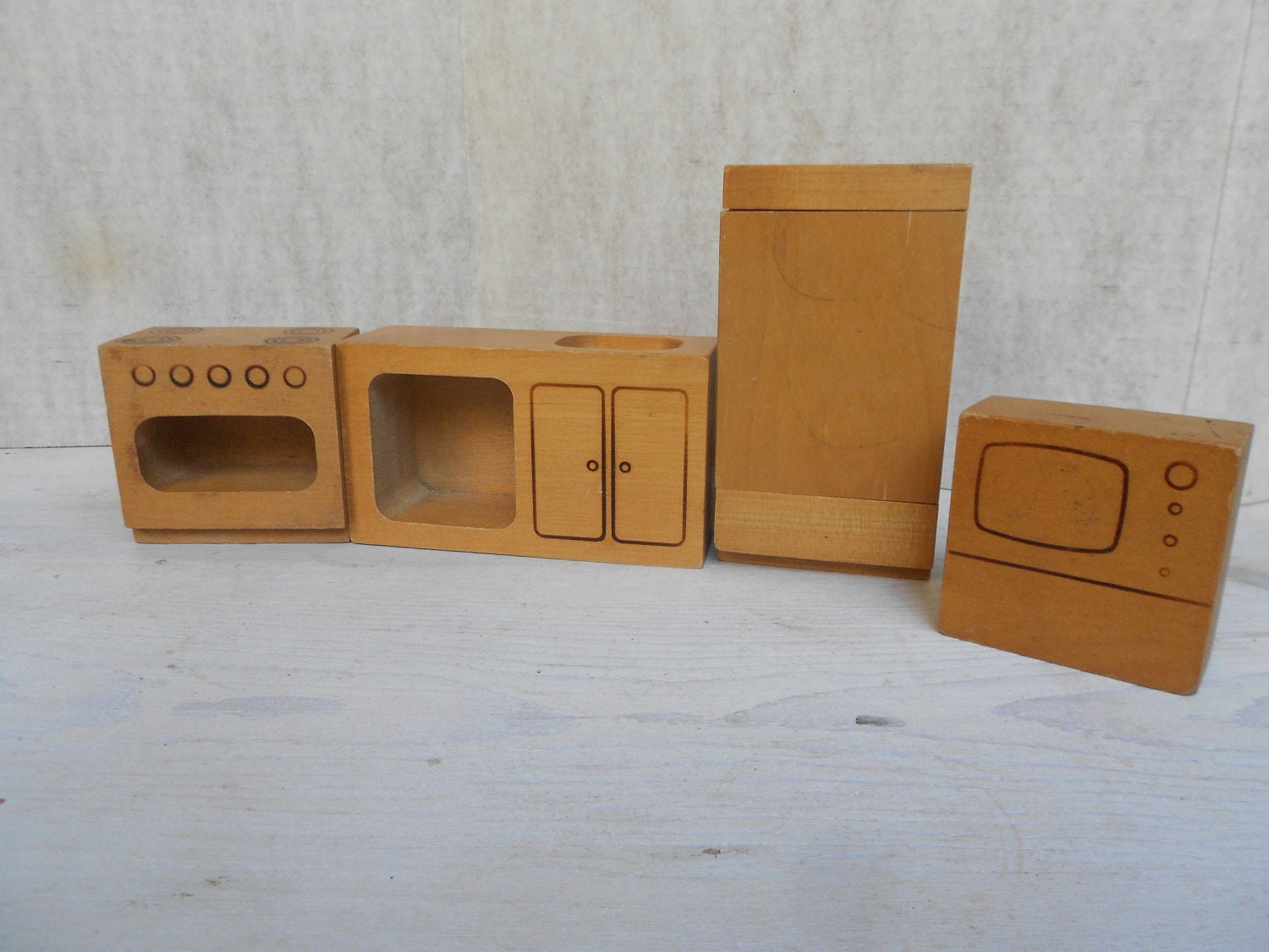 Vintage Wood Doll House Furniture Made In Finland