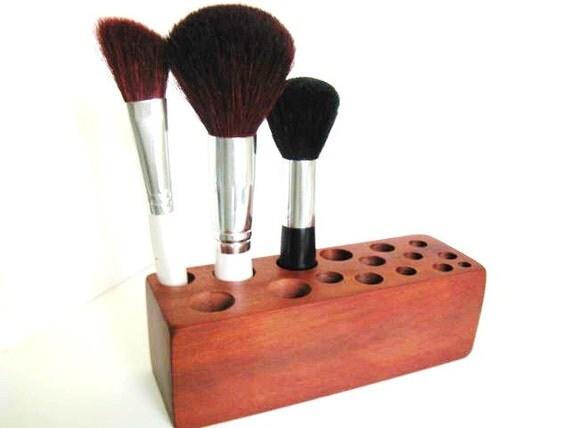 Makeup Brush Organizer Vanity Storage Solution Rich Red Wood