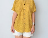 Vintage yellow floral short sleeves button up blouse