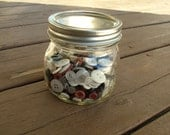 Ball Pint Jar With Old Buttons Different Colors and Sizes