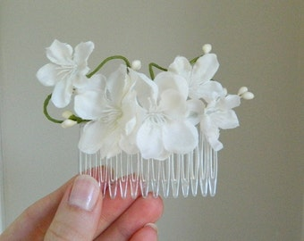 White Sakura Comb - Bridal Flower Hair Accessory - Bride Bridesmaid Flowergirl - Woodland Wedding