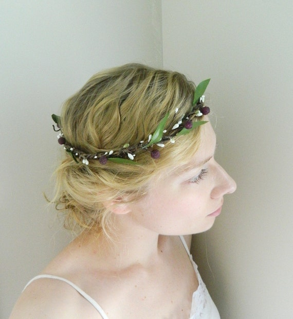 Woodland Forest Crown 'Winterberry' Leaf and Berry Rustic Wedding Hair Accessory