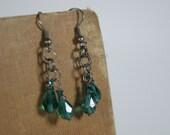 Peacock green crystal tear drop oxidized chain earrings Beadtriss Lane  Bridal jewelry Girlfriend gifts