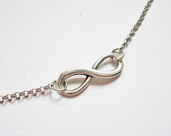 Silver Infinity Necklace, Eternity Jewelry, Infinity pendant necklace, everyday wear, minimalist jewelry, Jewelry Necklace, Karma Necklace