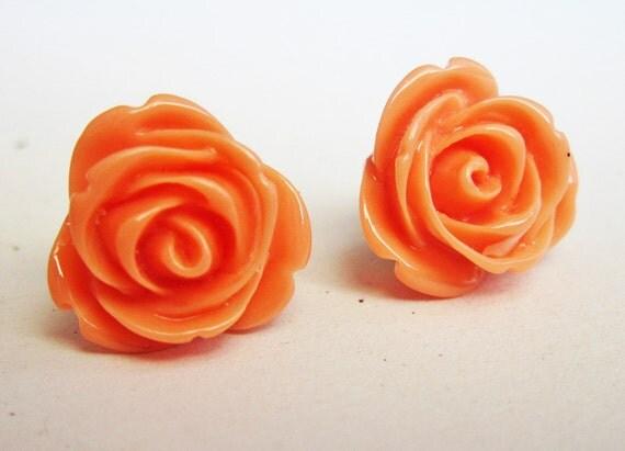 peach earrings, rose earrings, flower stud earrings, small post earrings, flower earring, coral earrings, simple everyday jewelry, orange