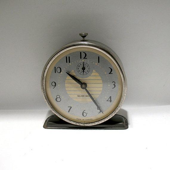 Vintage Alarm Clock Westclox Silver Bell Model Retro