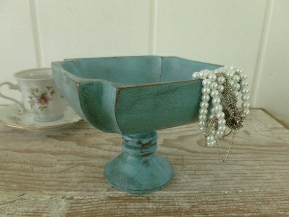 Painted Decorative Wood Display Bowl