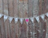 Burlap Banner Garland Bunting Rustic Wedding - Customize your Banner Colors and Wording