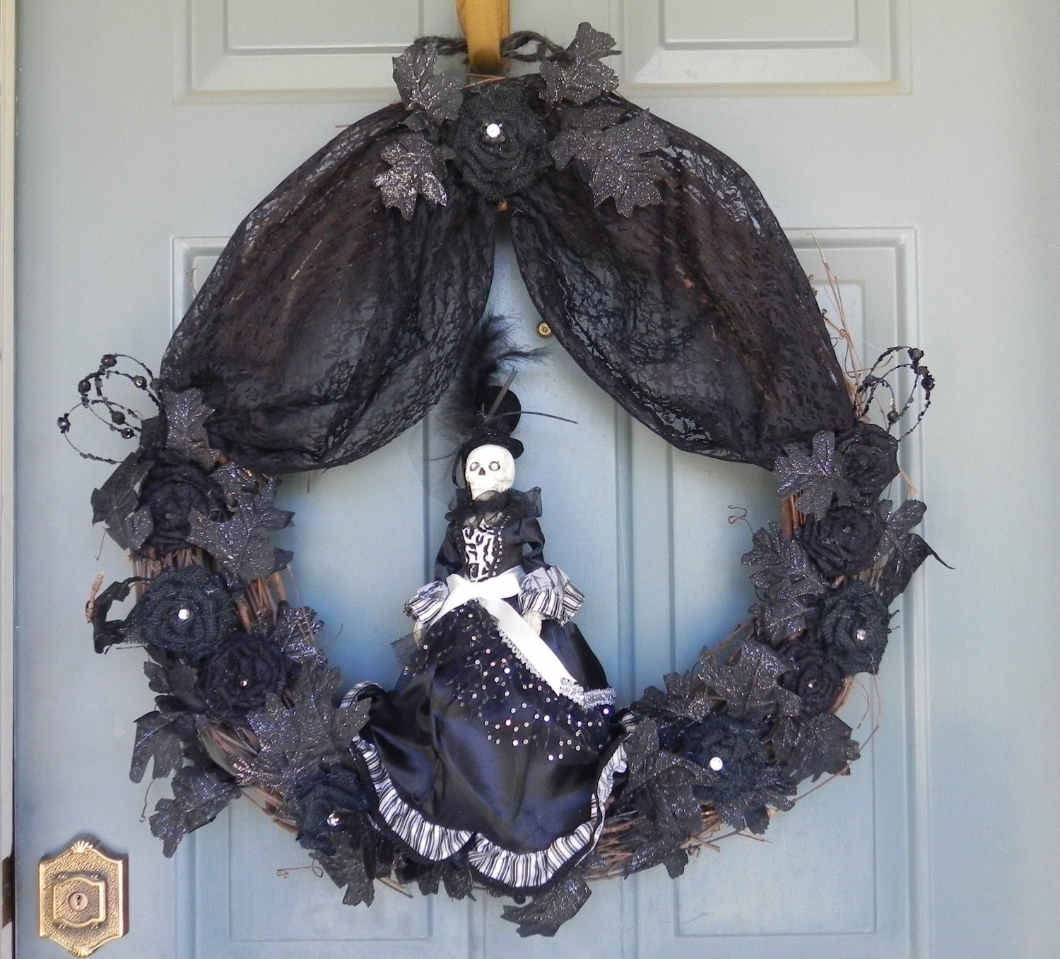 Halloween Wreath Skeleton Widow Burlap Lace And