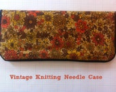 Vintage Knitting Needle Case Set, Full, in Brown & Orange Floral 70s