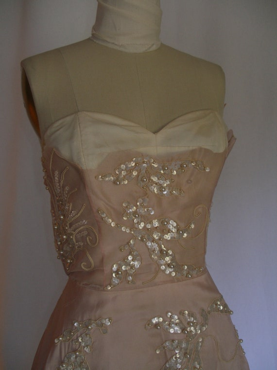 1950s Beaded Pearls and White sequins Pink Silk Organdy  Cocktail Dress