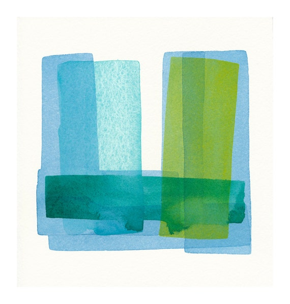 original watercolor painting soft structure blues to greens
