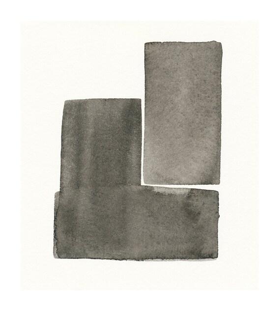 original watercolor painting greys in balance
