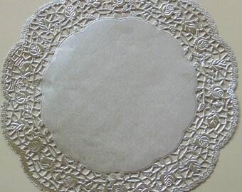 6 Silver Metallic Paper Doilies, Rose Design, 10.5 inch