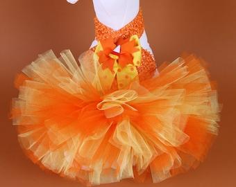 HALLOWEEN Dog Tutu Dress -- Candy Corn Princess