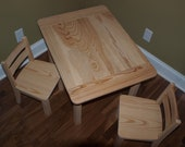 Unfinished Childrens Farmhouse Table & Chair Set