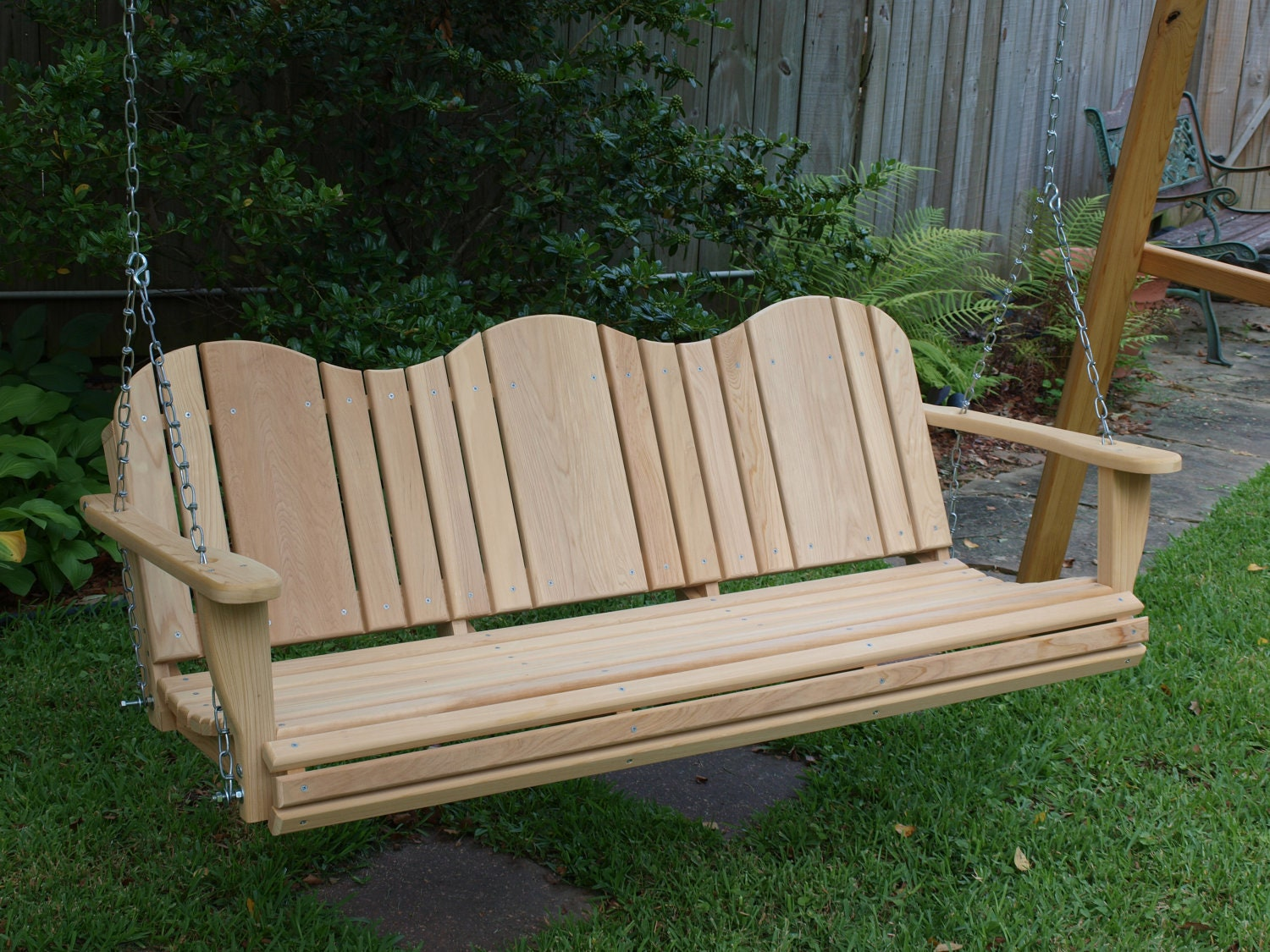5 foot adirondack cypress porch swing. Black Bedroom Furniture Sets. Home Design Ideas