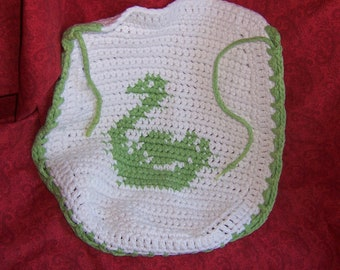 Toilet Seat Cover Vintage 59's crochet with Swan Design
