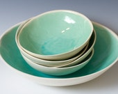 Individual Light Turquoise and White Ceramic Bowls 6 1/2 inches - The Perfect Snack, Ice Cream or Salad Bowl - ready to ship