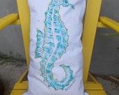 Sea Horse Hand Painted, Indoor/ Outdoor Pillow in Aqua