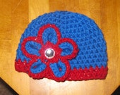Crochet Chicago Cubs Flower  Hat, crochet hat, pom pom hat, photography prop 0-3 month