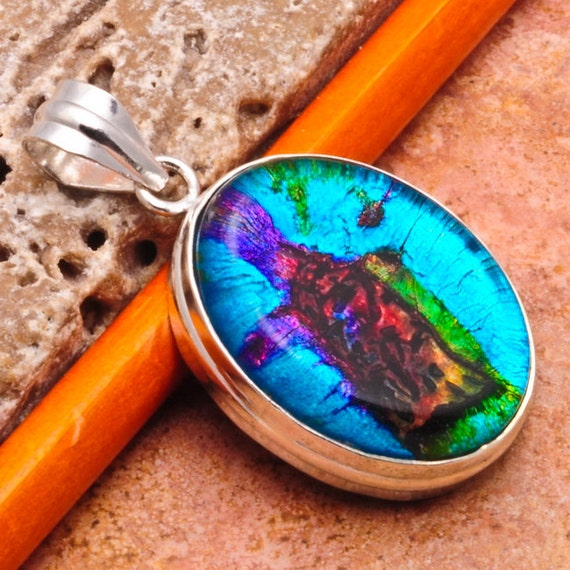 Rainbow Turquoise Dichroic Glass Art Pendant Charm in Sterling Silver - One Of A Kind OOAK