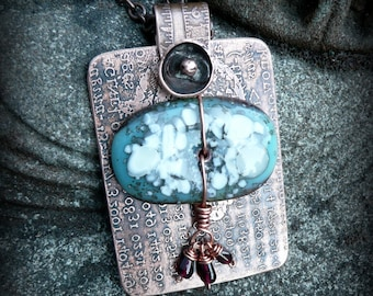 Steampunk, fused glass and etched copper pendant by Recreate4U