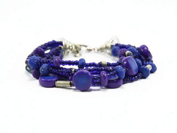 Purple and Royal Blue Bracelet - Beaded Bracelet - Fun Funky Seed Bead Polymer Clay Unique Handmade Bracelet - Bracalets for Women