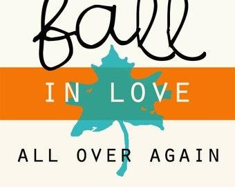 """Fall in Love - retro - 8x10"""" - Digital Download - Printable"""