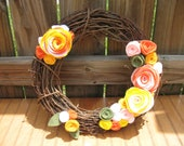 My Sunny Garden- -Door Decor-Door Decoration-Summer Decoration 14 inch Grapevine and Felt Flower Wreath
