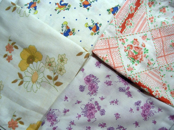4  Retro Pillowcases, Vintage Fabric, Animal and Flower Patterned Fabric, Patchwork Fabric, Vintage Pillowcases