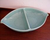 Bauer Brusch pottery divided vegetable serving dish aqua blue