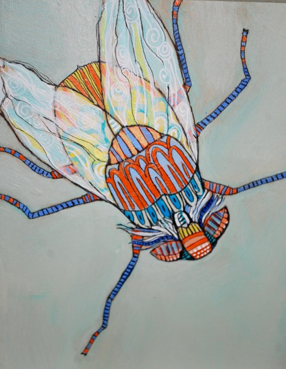 Small Original Painting of a Patterned Fly