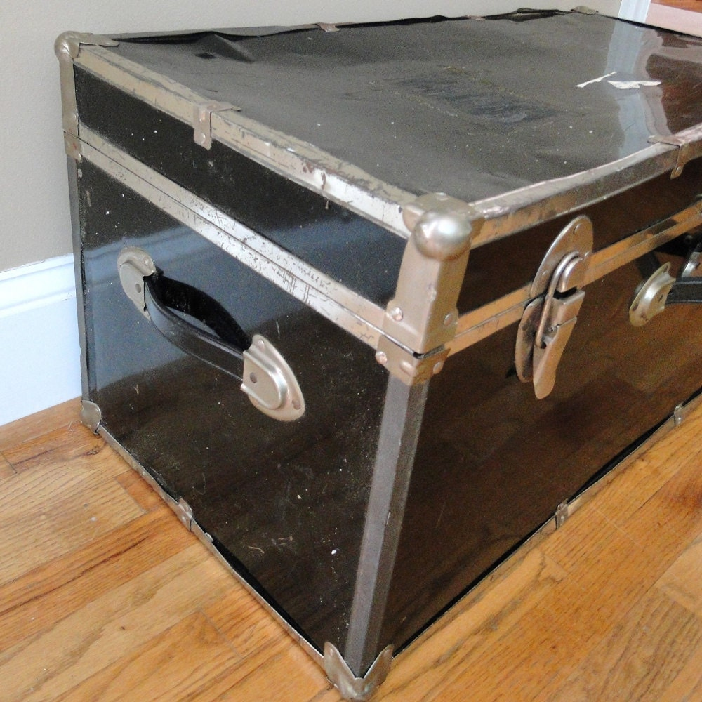 Vintage Trunk Glossy Black Metal & Chrome Suitcase Two Handles