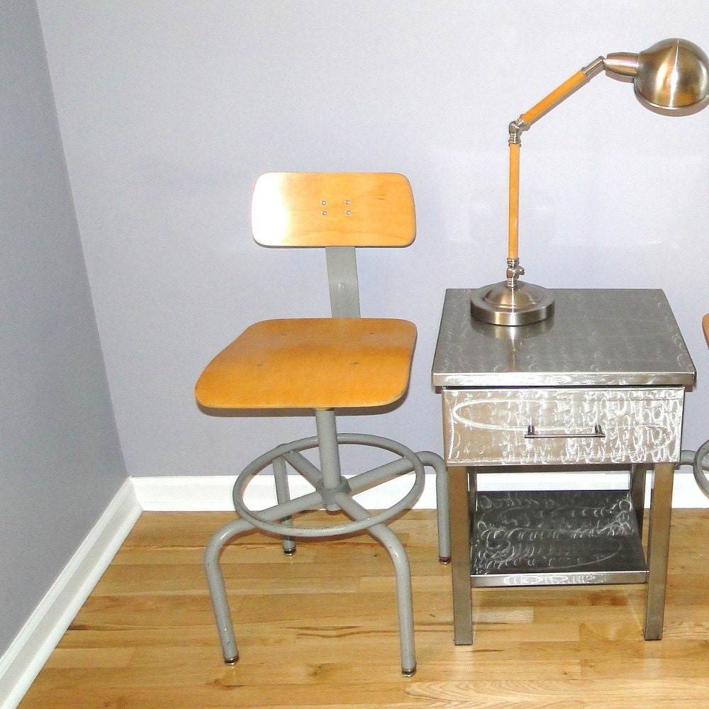 Vintage Chair Science Lab Seat Adjustable Industrial Stool