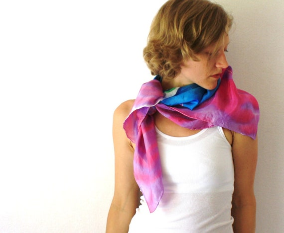 Pink and Blue Silk Scarf - Face- Hand Painted Silk Scarf - Fall Fashion -Blue Woman