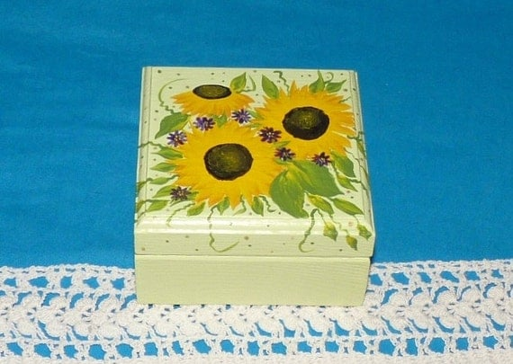 Decorative Ring Box Wedding Ring Box Wood Engagement Ring Bearer Box Jewelry Sunflower Gift