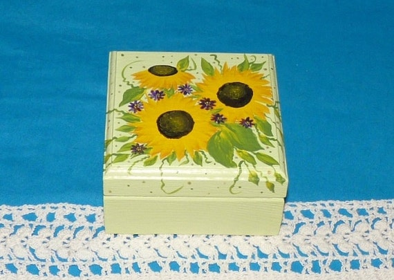 Decorative Ring Box Wedding Ring Box Wood Engagement Ring Bearer Box Jewelry Sunflower Gift