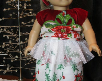 "Holly and Poinsettia dress, matching headband, 18"" doll, vintage buttons,bows, holly embroidery, scalloped vintage hankie and velvet bodice"