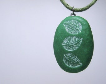 """Green Leaf """"Fossil"""" Necklace, Polymer Clay Jewelry, Necklace, Pendant"""