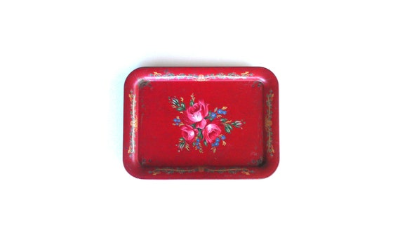 Vintage Red Metal Tray TV Tray