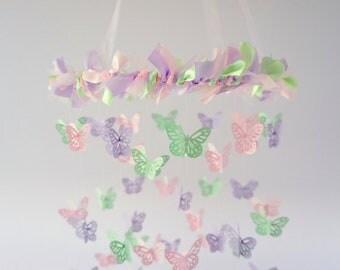 Pastel Nursery Mobile Decor- Mint Lavender Pink Butterfly Nursery Mobile Decor