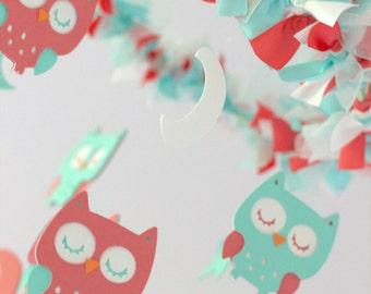 Owl Nursery Mobile in Aqua, Coral & White- Baby Mobile, Baby Shower Gift