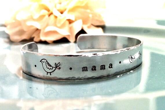 Hand Stamped Cuff Bracelet - Personalized Jewelry - Custom Mama Bird Cuff with Baby Birds