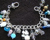 CAT LOVER - OOAK Charity charm bracelet - 7.5 inch - silver and sea green