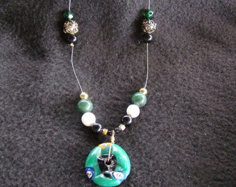 5 OFF SALE African Trade Bead Floating Necklace - 22 inch - Kwanzaa Gift - Green, Black, Gold