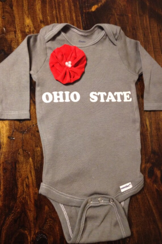 Unique Baby Girl Onesie in Gray With Beautiful Handmade Flower & OHIO STATE